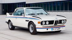 1973: BMW 3.0 CSL    Just check that Seventies-licious air dam at the front. And the knives atop the wings, roof spoiler and a rear wing you could hold a banquet on...