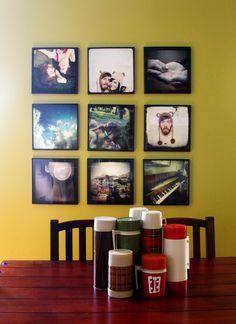 Bedroom photo wall via record frames & 12.5X12.5 photo prints