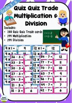 'Quiz Quiz Trade' is a great way to get your students moving and engaged! These cards are a fun way to work on multiplication and division and can be used every day! Choose a times table for the day and you're away.Steps:1.Cut cards with questions and answers back to back.2.Give each student a card.3.Students walk around and high five the closest person.4.They take turns asking and answering the question from their card.5.They swap cards and move to the next person. Teaching Math, Maths, Teaching Resources, Math Games, Math Activities, Kids Math Worksheets, Multiplication And Division, Student Engagement, Math Skills