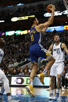 Klay Thompson of the Golden State Warriors takes a shot against the Dallas Mavericks at American Airlines Center on January 13 2019 in Dallas Texas. Mvp Basketball, American Airlines Center, January 13, Take A Shot, Dallas Mavericks, Nba Champions, Dallas Texas, Nba Players, Golden State Warriors