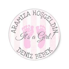 Pink Its a Girl Birth Announcement Stickers
