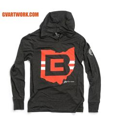Cleveland Football CB Ohio Logo Long Sleeve Hooded T shirt 8f9518f7b5f1
