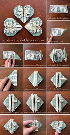 Lesen Sie mehr über Origami-Projekte The Effective Pictures We Offer You About DIY Graduation cake A quality picture can tell you many things. You can find the most beau Money Origami Tutorial, Diy Origami, Origami Instructions, Origami Jewelry, Origami Paper, Origami Money Flowers, Oragami Money, Origami With Money, Diy Money Lei