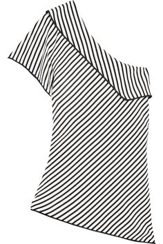 Diane von Furstenberg - One-shoulder Striped Silk Top - Black - US10
