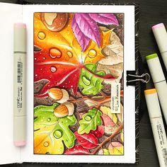 Dew drops on Autumn leaves Cool Pencil Drawings, Copic Drawings, Amazing Drawings, Colorful Drawings, Art Drawings, Copic Marker Art, Copic Art, Sketch Markers, Art Studio Organization