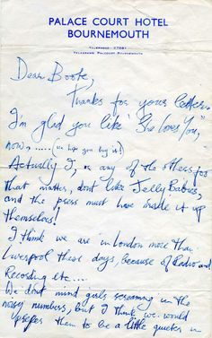 In this letter, Harrison denies their affection for jelly babies, stating that no one in the band likes them and that the press made it up. (His published comment would have further repercussions a few months later when American concertgoers showered the band with thousands of jelly babies, a much harder candy The Beatles disdained because of the pain they inflicted when they were hit by them on stage.)