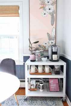 """See our site for additional relevant information on """"gold bar cart decor"""". It is an excellent area to learn more. Coffee Nook, Coffee Bar Home, Coffee Carts, Home Coffee Stations, Office Coffee Station, Coffee Maker, Coffee Cup, Deco Studio, Bar Cart Decor"""