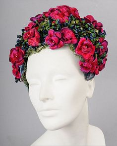 1940's floral hat with velvet roses and blue buds (front view) #millinery #judithm #hats