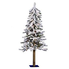 4ft Pre-Lit Artificial Christmas Tree White Flocked - Clear Lights