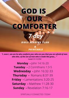 Here is a bible reading plan about God is our comforter. #biblereadingplan #bibleverses #Christianliving