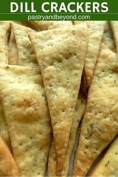 Dill Crackers-These crunchy dill crackers are so yummy and easy to make!  You only need few ingredients to make this homemade fresh dill cracker recipe! #freshdill #dill #crackers #homemade #recipe Recipe on pastryandbeyond.com with step by step pictures.