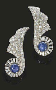 Cartier Platinum, Diamond & Cabachon Sapphire Ear Clips, 1930s