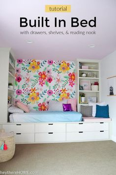 All the steps to build this DIY built in bed with reading nook using IKEA drawers and shelves. Perfect for any kid's bedroom!   #kidbedrooms #diy #tutorial #bedroomdecor #girlsroom via @heytherehome.com