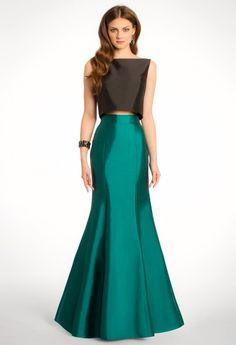 Two-Toned Taffeta Two Piece Dress