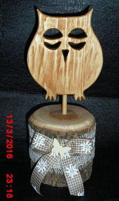Holz Eule dekoriert