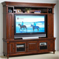 Found it at Wayfair - Hennessey Entertainment Center Home Entertainment Centers, Entertainment Furniture, Cool Tv Stands, Media Wall, Cherry Finish, Traditional Design, Home Kitchens, Solid Wood, Home Goods