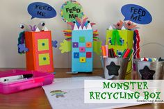 """Monster Recycling Boxes:  A quick and easy solution to keeping kids from getting up to use the trash can all day.  Little """"trash boxes"""" to sit in their groups!"""