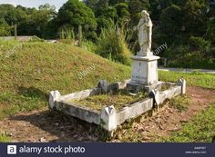 Malaysia Borneo Sarawak Kapit Chinese Cemetery catholic grave Stock Photo
