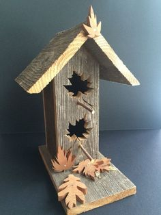 Signature Birdhouse handmade by DesignDredge from reclaimed cedar with wood leaves, and maple leaf cutouts #garden