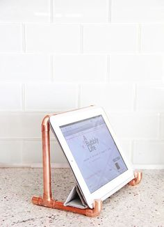 Nifty copper #diy iPad stand for the #kitchen. So neat!