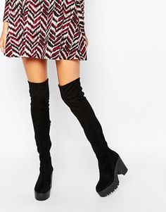 River Island Chunky Sole Over the Knee Boots