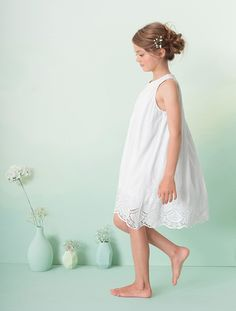 Girl's Voile & Lace Special Occasion Dress WHITE LIGHT SOLID+YELLOW LIGHT SOLID - vertbaudet enfant