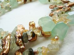 Divino Don necklace made of jade, prehnite, citrine and pearls. Find more at www.divinodon.com