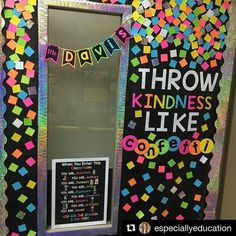 Throw kindness around like confetti! Amazing door or bulletin board decor for the classroom. See this Instagram photo by @heyheyfirstgrade • 198 likes