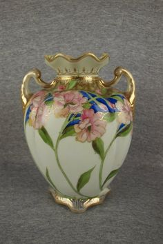 Nippon floral vase with gold,  8 1/2