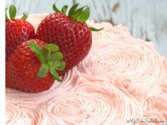 Strawberry Buttercream Frosting | My Cake School Fondant Flower Cake, Cake Icing, Fondant Cakes, Cupcake Cakes, Cupcakes, Fondant Bow, Marshmallow Fondant, Fondant Tutorial, Fondant Figures