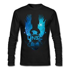 Video Game Halo 5 Guardians UNSC Eagle Logo T-shirts Long Sleeve For Mens Black HESO LMTee