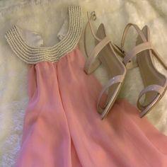 Light pink summer dress Chiffon light pink summer dress with pearl neckline falls above the knee Dresses