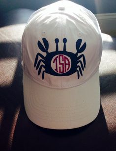 Hat with HTV with crab and monogram
