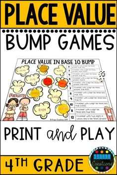 Looking for 4th grade math games for place value and number sense? There are 4 different print and play games in this pack to use for a small group center or review game.  Skills include: -Place Value in Base 10 -Expanded Form of Whole Numbers -Rounding Whole Numbers -Renaming Numbers These activities are the perfect way to keep your students engaged and learning! For best use, print on card stock and laminate or place in sheet protectors.