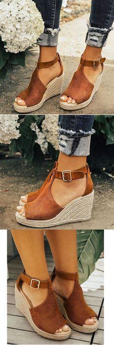 $39.99 USD Women Chic Espadrille Wedges Adjustable Buckle Sandals