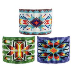"""Colorful woven bead bracelet with geometric fun patterns. Measurements (approx.): 6 1/2"""" x 7 1/2"""" long, 1 3/4"""" wide Materials: Glass Beads Prepack Includes: Blu"""