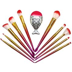 Quartly 11PCS Mermaid Fishtail Makeup Brushes Premium Makeup Brush Set - Cosmetic Eyebrow Eyeshadow Eyeliner Face Powder Lip Brush Concealer Makeup Brush Sets Kits Tools (A) *** You can get more details by clicking on the image. (This is an affiliate link) #MakeupBrushesTools