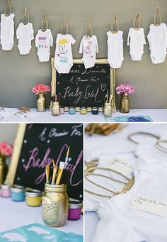 Onesie decorating station.~ would be a great idea for a baby shower.  ( Visit ontobaby.com)
