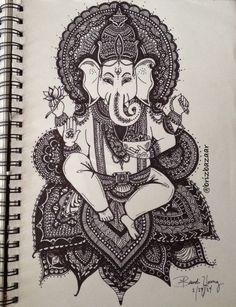 Instagram BrizBazaar #shareIG Zentangle drawing of Ganesh. God. Goddess. Hindu. Religion. Religious. Spiritual. Wisdom. Power. Faith. Elephant