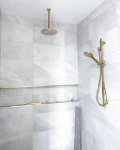 This bathroom has us WOWED. We are obsessed with the Gold Tapware and Shower Nook against our Shale Moon Tile 🤩🤩 Thank you @ubiquitous.interior.design we just 🧡 Wall And Floor Tiles, Wall Tiles, Grey Modern Bathrooms, Aesthetic Look, Grey Tiles, Decorative Tile, Retail Shop, Nook, Shower