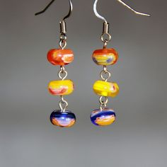 Colorful glass saucer beading drop earrings Bridesmaids gifts Free US Shipping handmade Anni Designs