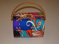VINTAGE 1960s EMILIO PUCCI Silk Box Evening Clutch Handbag Purse w/ Brass Handle