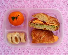 Ham, cheese and avocado croissant, pineapple pastry and mandarin orange, packed in @EasyLunchboxes