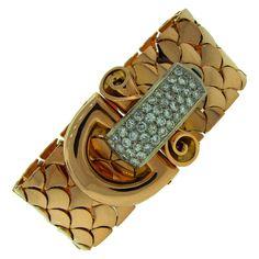 1940s Boucheron Paris Diamond Gold Buckle Bracelet   From a unique collection of vintage retro bracelets at https://www.1stdibs.com/jewelry/bracelets/retro-bracelets/