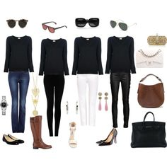 V neck black sweater outfits