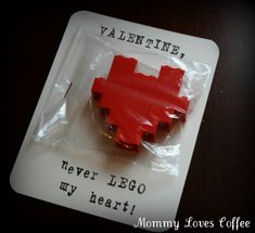The lil Lego lovers in the class will go crazy over Mommy Loves Coffee's Lego Cards. A lil heart-shaped Lego creation and a play on words makes it a fun (and easy) way to share some Valentine's Day joy.  Source: Mommy Loves Coffee