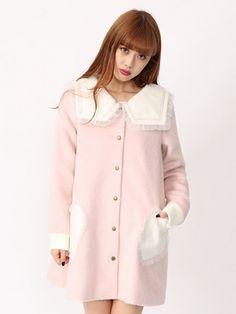 Ank Rouge(アンクルージュ)  Aラインセーラーシャギーコート(ピンク)