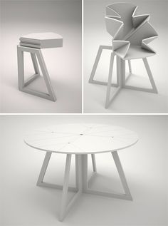 dining room table for those with small spaces. It just becomes a corner table when not in use.