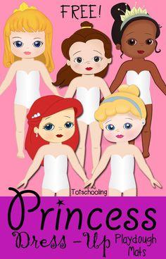 Princess Dress-Up Playdough Mats Free Printable