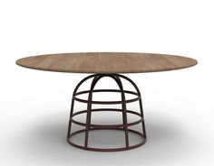 wood top dining table with colorful hoop wire bases